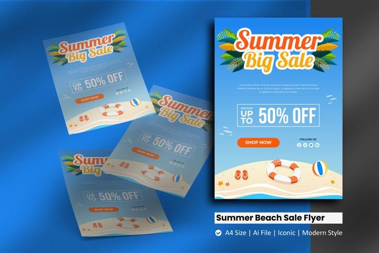 Summer Beach Sale Flyer Brochure Template example image 1