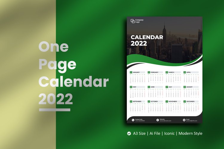 Green Wave One Page Calendar 2022 example image 1