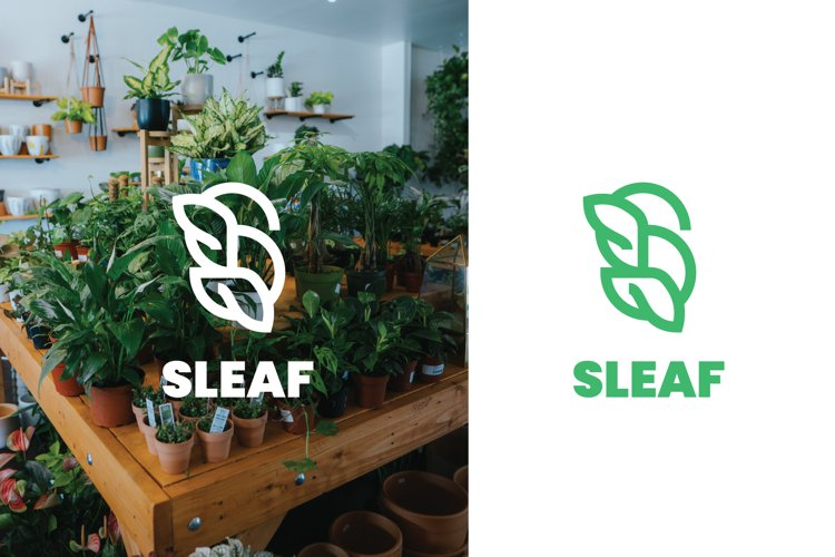 Sleaf Green Nature Logo Template example image 1