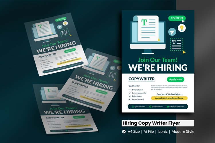 Recruitment Copy Writer Flyer Template example image 1