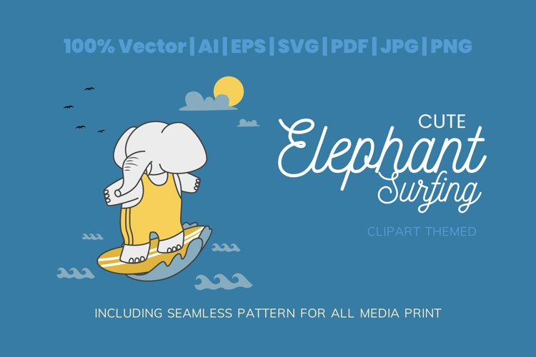 Cute Elephant Surfing Themed Illustration Plus Pattern