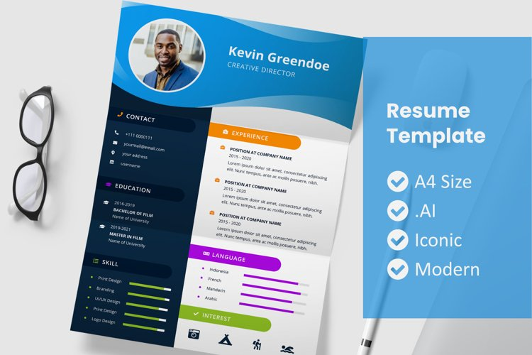 Blue Wave Resume Template
