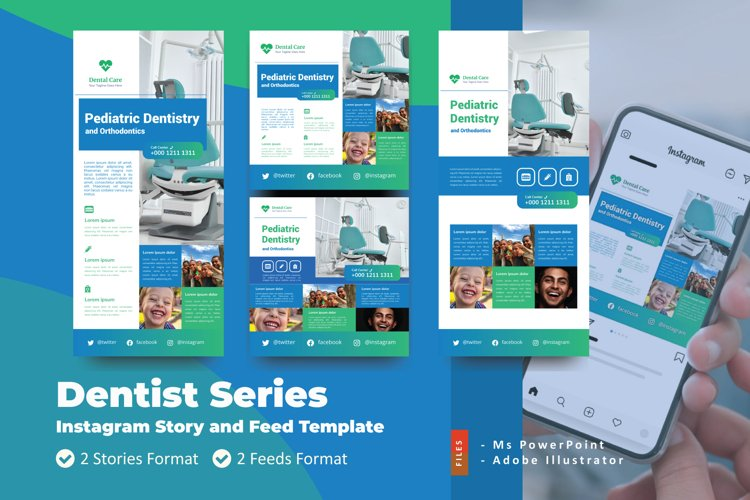 Dentistry Instagram Story and Feed Social Media Template