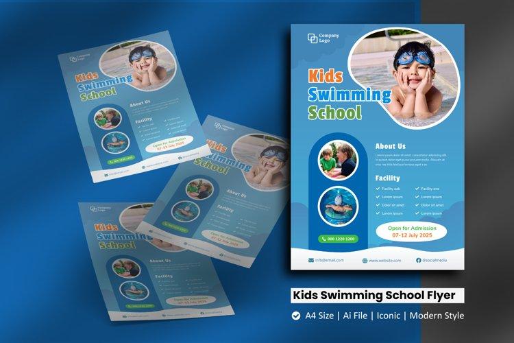 Kids Swimming School Flyer Brochure Template example image 1