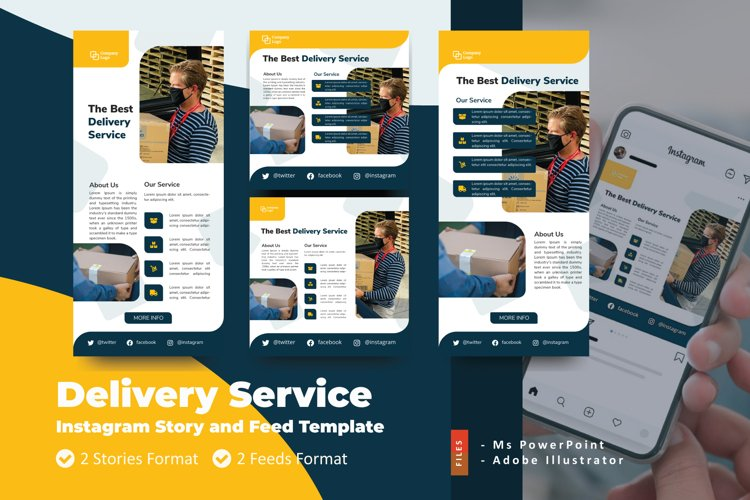 Delivery Service Instagram Story and Feed Social Media Templ
