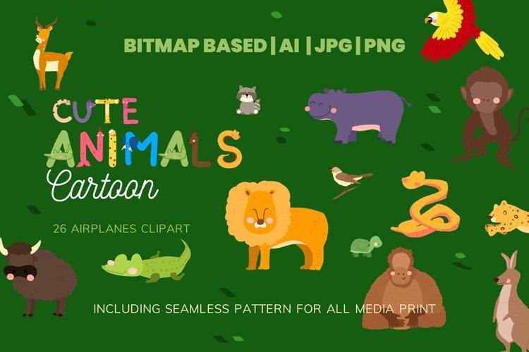 Cute 26 Animals Clipart Set Plus Pattern