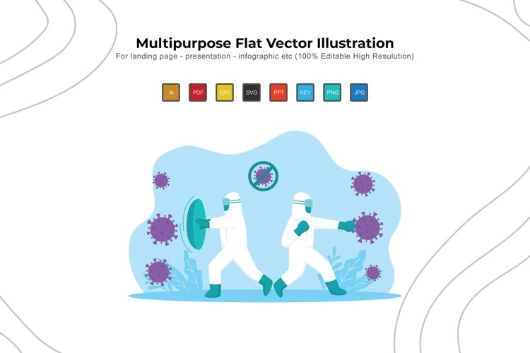 Fight Virs Everyday - Flat Vector Illustration Design example image 1