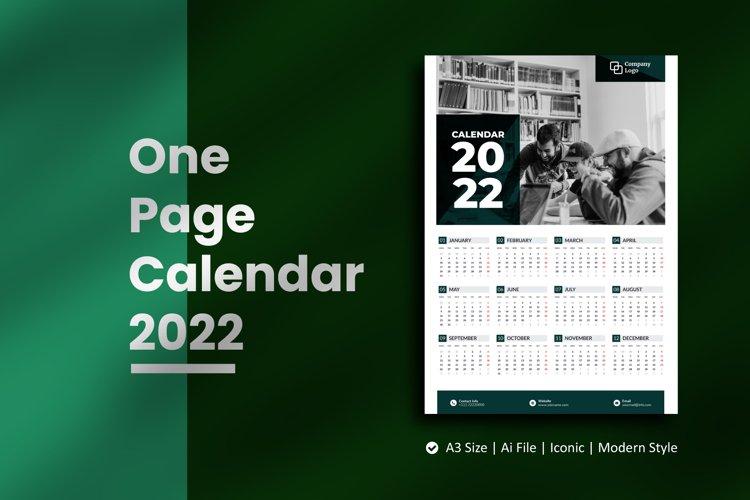 Mono One Page Wall Calendar 2022