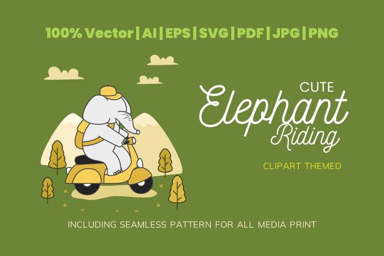 Cute Elephant Riding Themed Illustration Plus Pattern