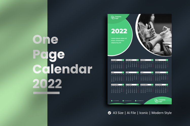 Dark Green One Page Calendar 2022