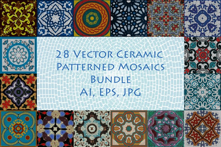 28 Vector Ceramic Patterned Mosaics Bundle example image 1