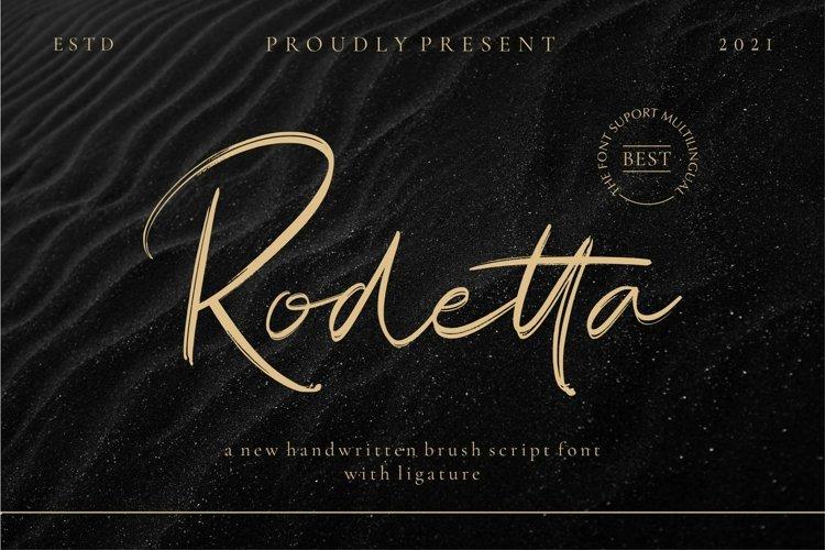 Rodetta_new brush handwritten font example image 1