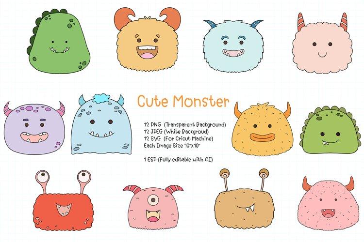 Cute Monster Clipart SVG, PNG, JPEG