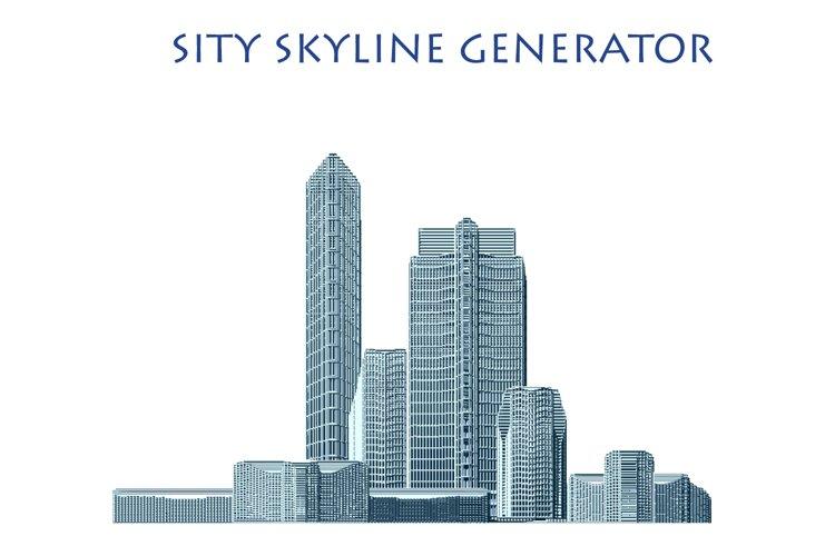 City Skyline Generator - 46 Buildings - AI, EPS, PNG, PSD