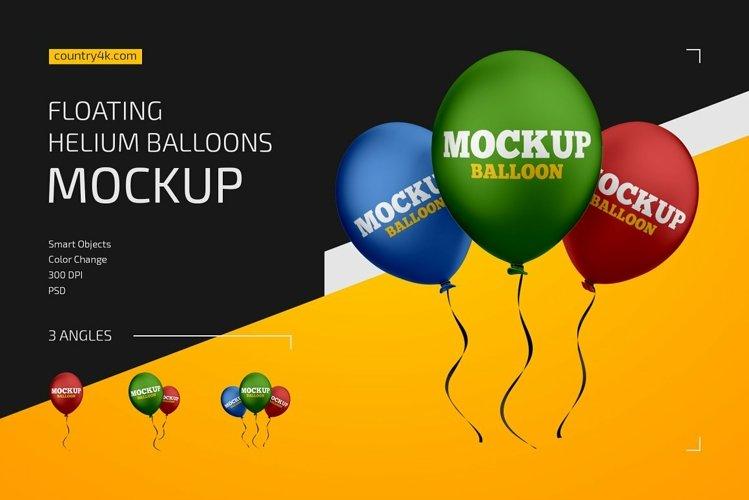 Floating Helium Balloons Mockup Set