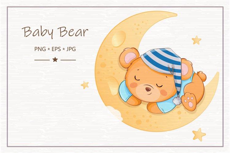 Cute little bear cartoon character, set of six illustrations