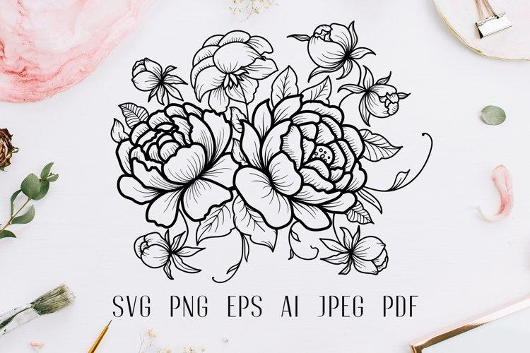 Vintage roses bouquet svg line art