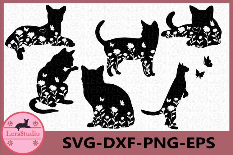 Cat svg, Cat black Svg, Cat floral Svg, Animals Silhouettes