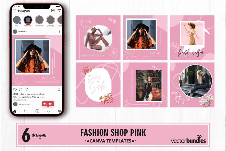 Fashion shop pink color instagram post canva template example image 1