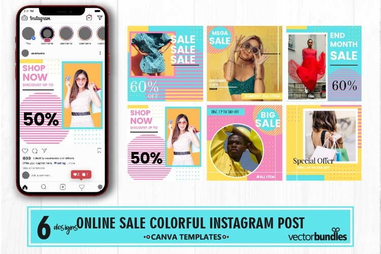 Fashion shop colorful instagram post canva template example image 1