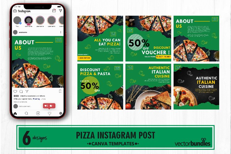 Pizza food instagram post canva template example image 1