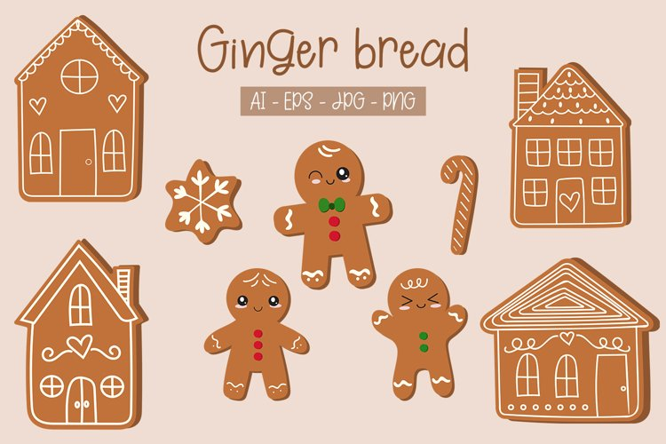 Cute gingerbread man and house vector clipart