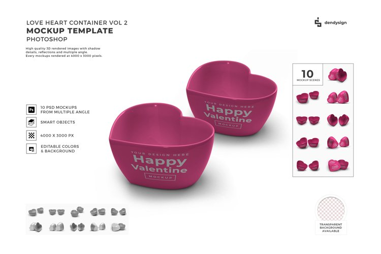 Valentine Love Heart Container Mockup Template Bundle 2