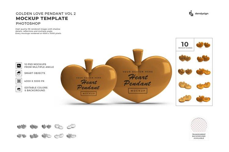 Valentine Golden Heart Pendant Mockup Template Bundle 2