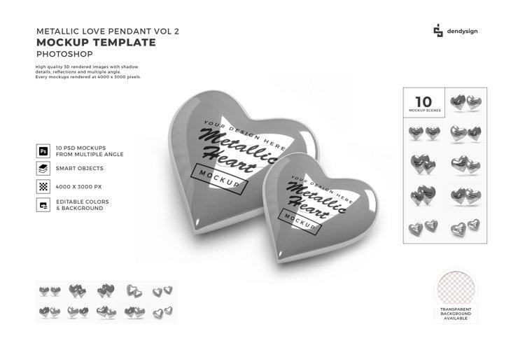 Metallic Valentine Love Heart Mockup Template Bundle 2