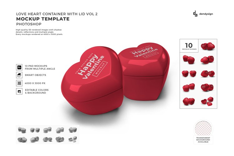 Valentine Love Heart Container Lid Mockup Template Bundle 2