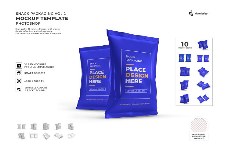 Snack Packaging Pouch Mockup Template Bundle 2