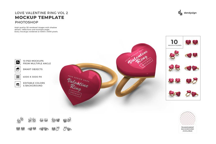 Valentine Love Heart Ring Mockup Template Bundle 2