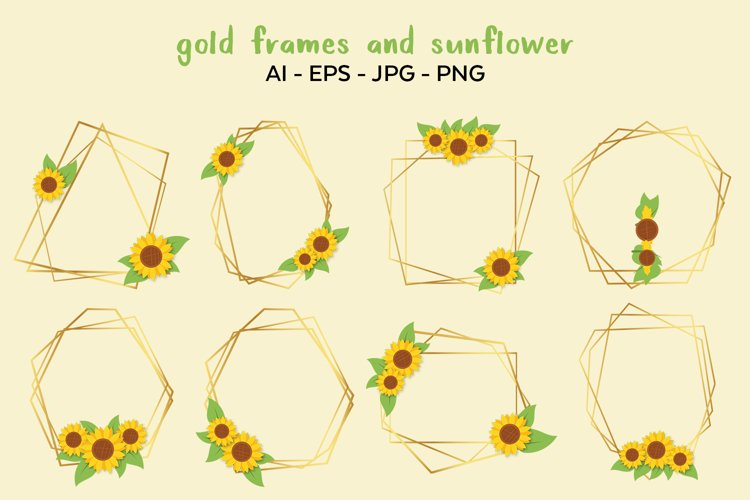 Gold Frames and Sunflower Vector Clipart