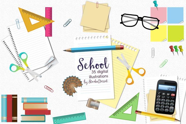 School Cliparts | School Supplies Illustrations