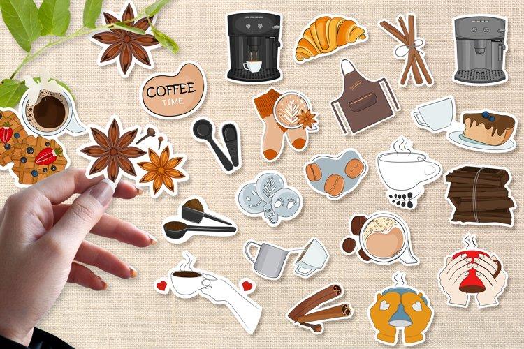 Coffee printable stickers bundle PNG, EPS, JPG. example image 1