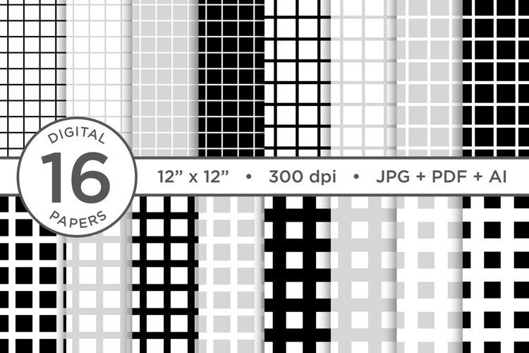 Black   White Seamless Grid Patterns