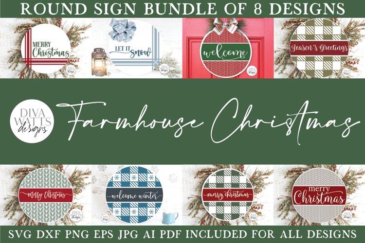 Farmhouse Round Christmas SVG Bundle - Sign Making Bundle example image 1