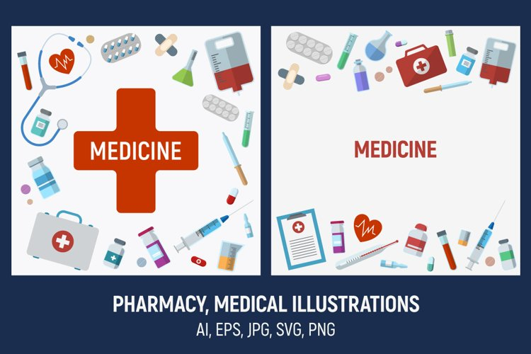 Pharmacy, medical illustrations