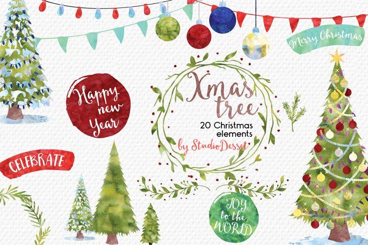 Christmas Tree - Christmas Watercolor Illustrations