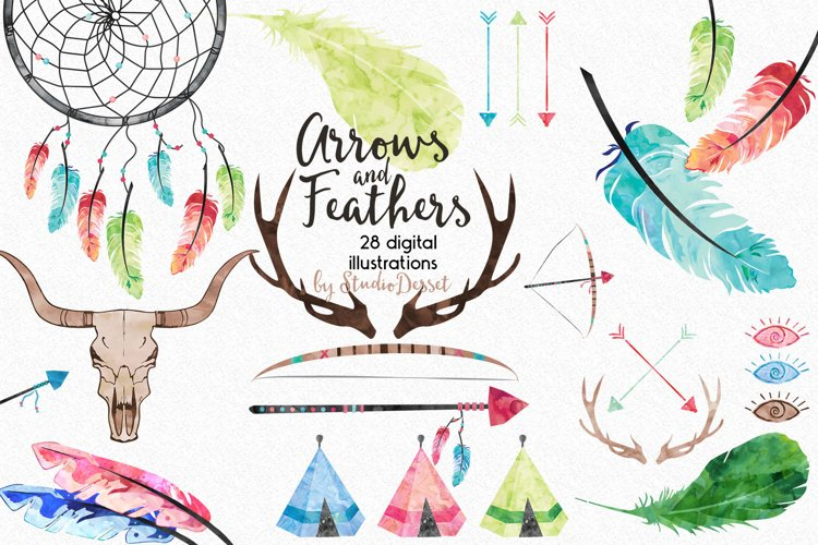 Arrows and Feathers - Tribal Watercolor Illustrations example image 1