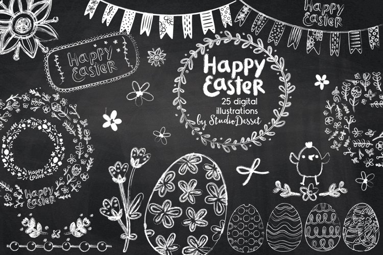 Chalkboard Easter Cliparts   Happy Easter Clip Art