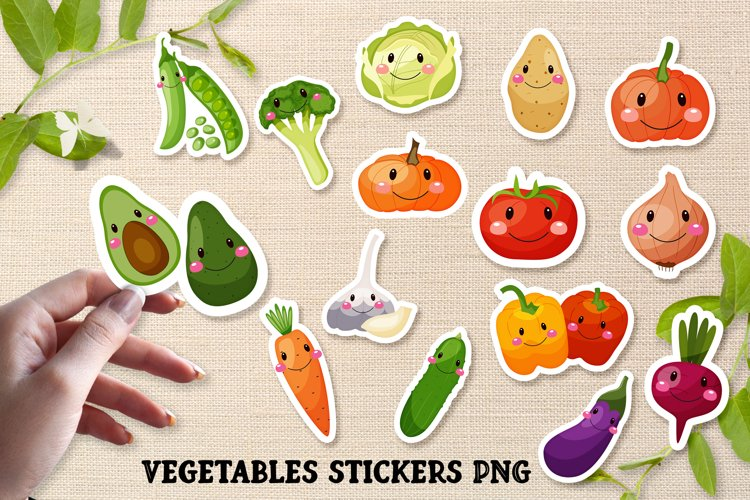 Funny cartoon Vegetables png, vegetables stickers. example image 1