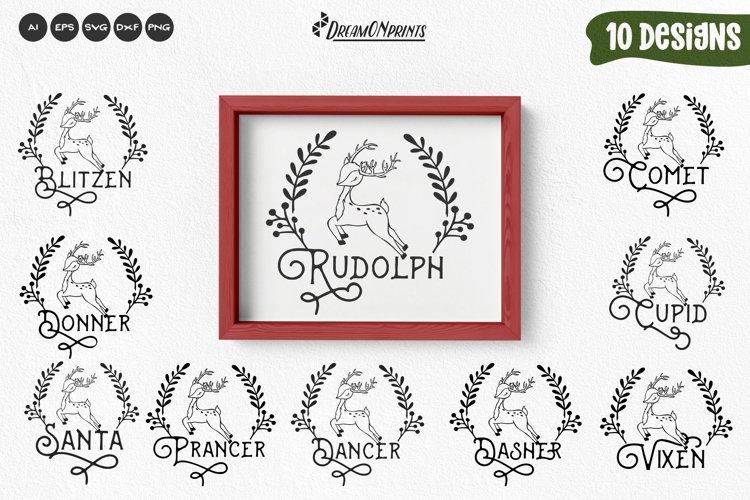 Reindeer Names SVG Bundle   Christmas Ornaments SVG example image 1