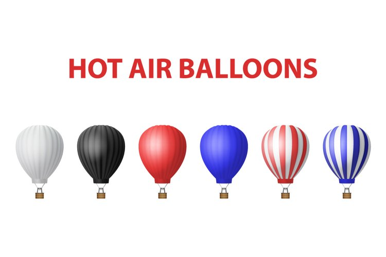 Hot Air Balloon. Vector Set.