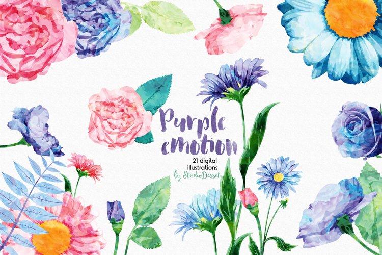 Purple Emotion - Flowers Watercolor Illustrations example image 1