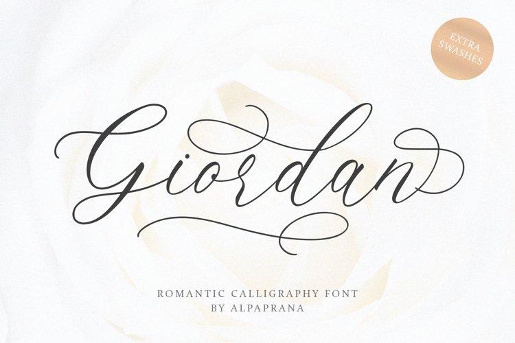 Giordan - Romantic Calligraphy Font example image 1