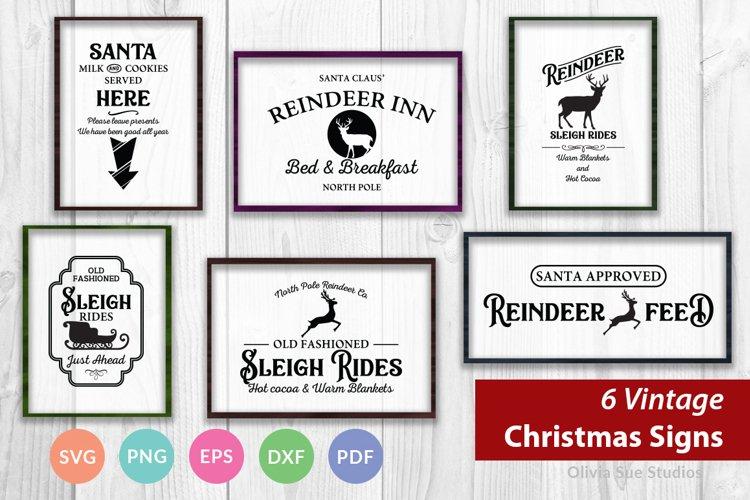 Vintage Christmas Signs SVG Bundle - Reindeers and Sleighs