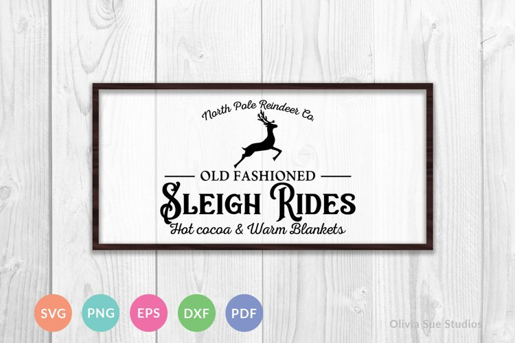 Old Fashioned Sleigh Rides Vintage Christmas SVG