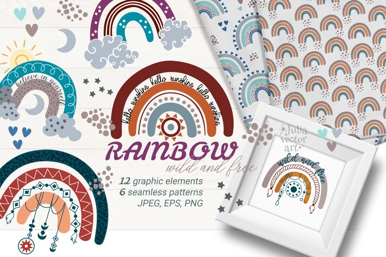Rainbow Wild and Free - vector clipart patterns
