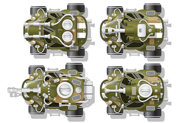 A set of combat vehicles.
